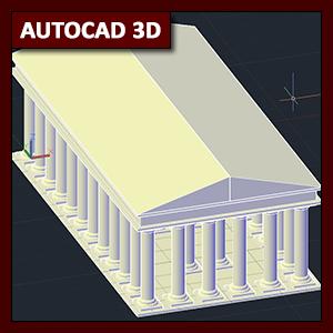 AutoCAD 3D Modelado: Modelado 3D de templo griego mediante primitivas